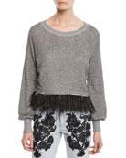 Le Superbe Super Fine Fringe Pullover Sweater w/