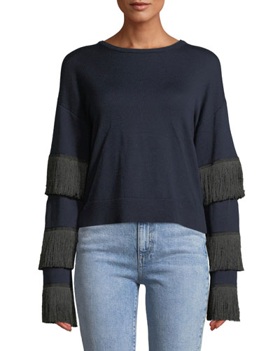 Kahina Fringe-Sleeve Crewneck Sweater