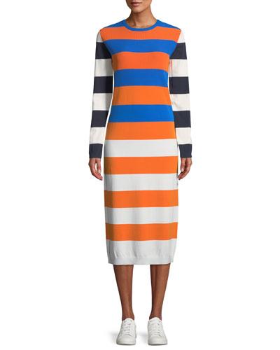 Broad-Stripe Tech Knit Long-Sleeve Midi Dress