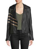 Neiman Marcus Leather Collection Asymmetric-Zip Leather Moto