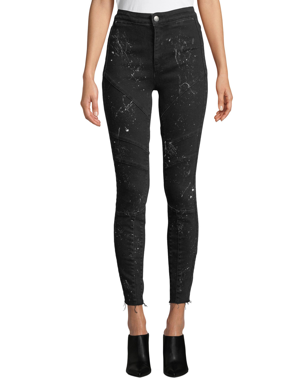 ACYNETIC Jennie Rock Splattered High-Rise Skinny Jeans in Black Pattern