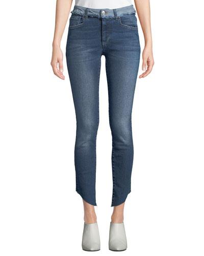 Loren Dilone Skinny Cropped Asymmetric Jeans