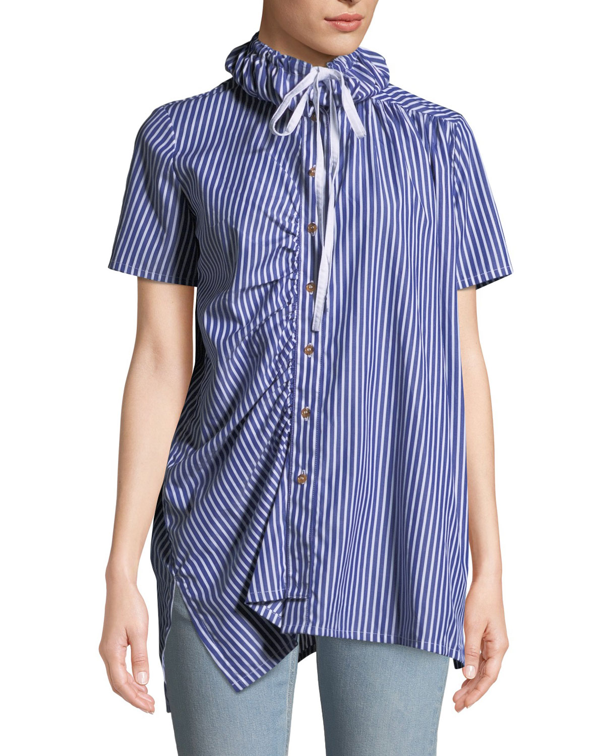 Striped Shirred Button-Down Shirt with Drawstring Collar