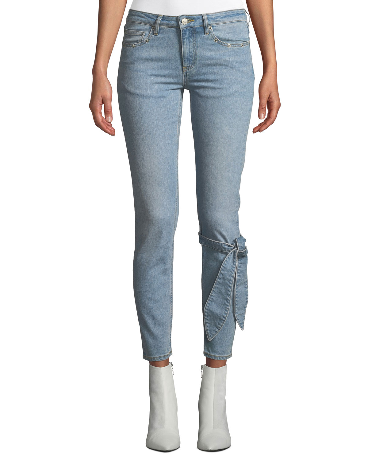 Mid-Rise Skinny Ankle Jeans with Tie Detail