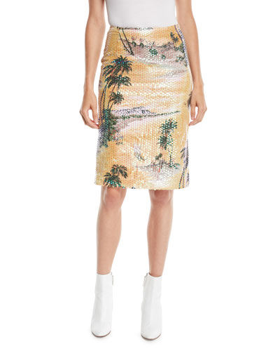 Hawaiian Shine Sequin Pencil Skirt