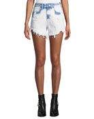 alexanderwang.t Bite Side-Zip Denim Cutoff Shorts