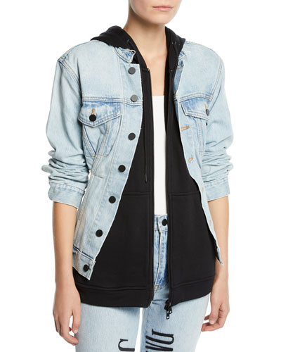 Joint Layered Hooded Denim Jacket
