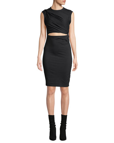 Twisted Cutout Fitted Sleeveless Jersey Dress