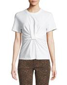 alexanderwang.t Twist-Front Short-Sleeve Jersey Tee