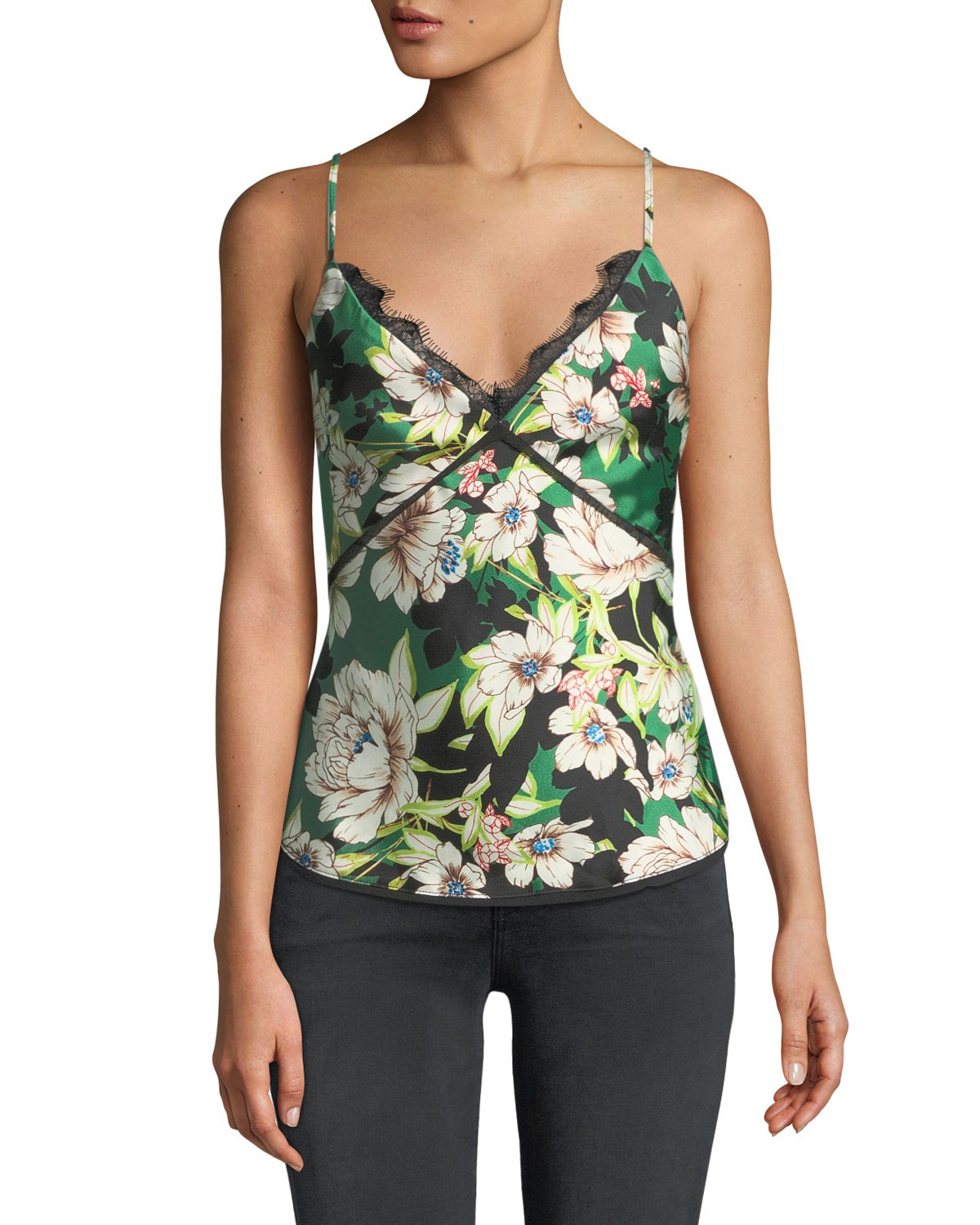 LE SUPERBE GARDENIAS NIGHTS PRINTED LACE-UP CAMI