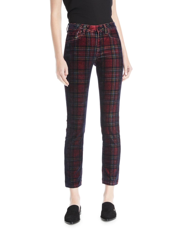 ACYNETIC Kelly Velvet Plaid Skinny-Leg Pants in Multi Pattern