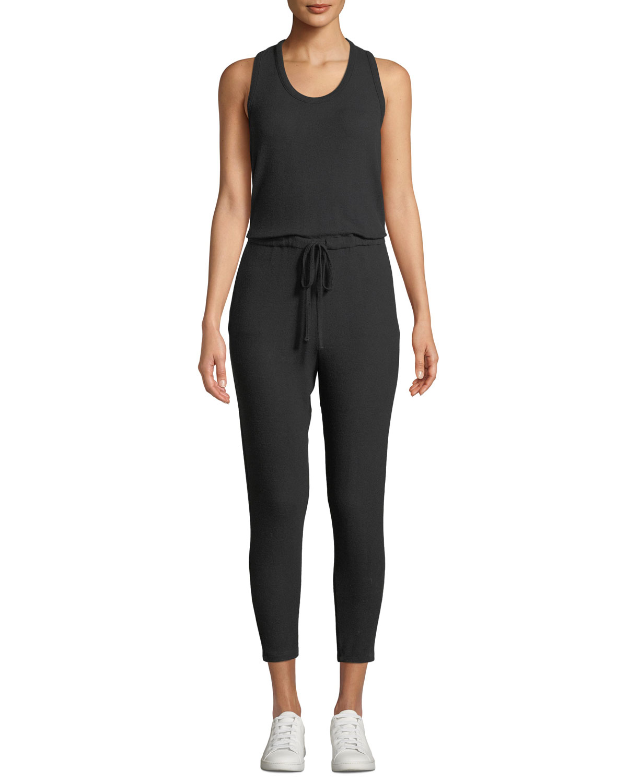 ENZA COSTA Sleeveless Drawstring Jersey Jumpsuit in Black