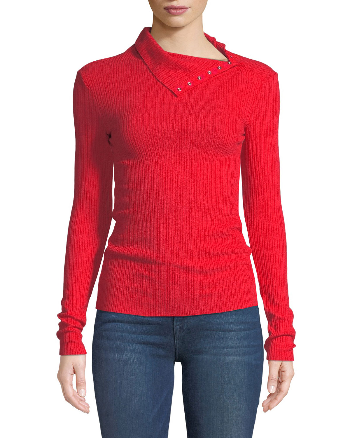 ENZA COSTA Ribbed Split-Collar Long-Sleeve Sweater in Red