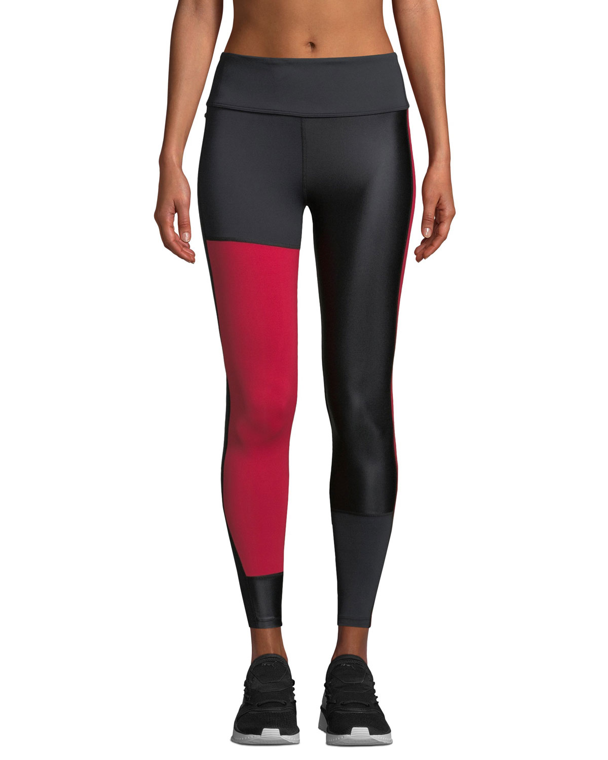 ALALA Patchwork Colorblock Performance Tights in Black/Red