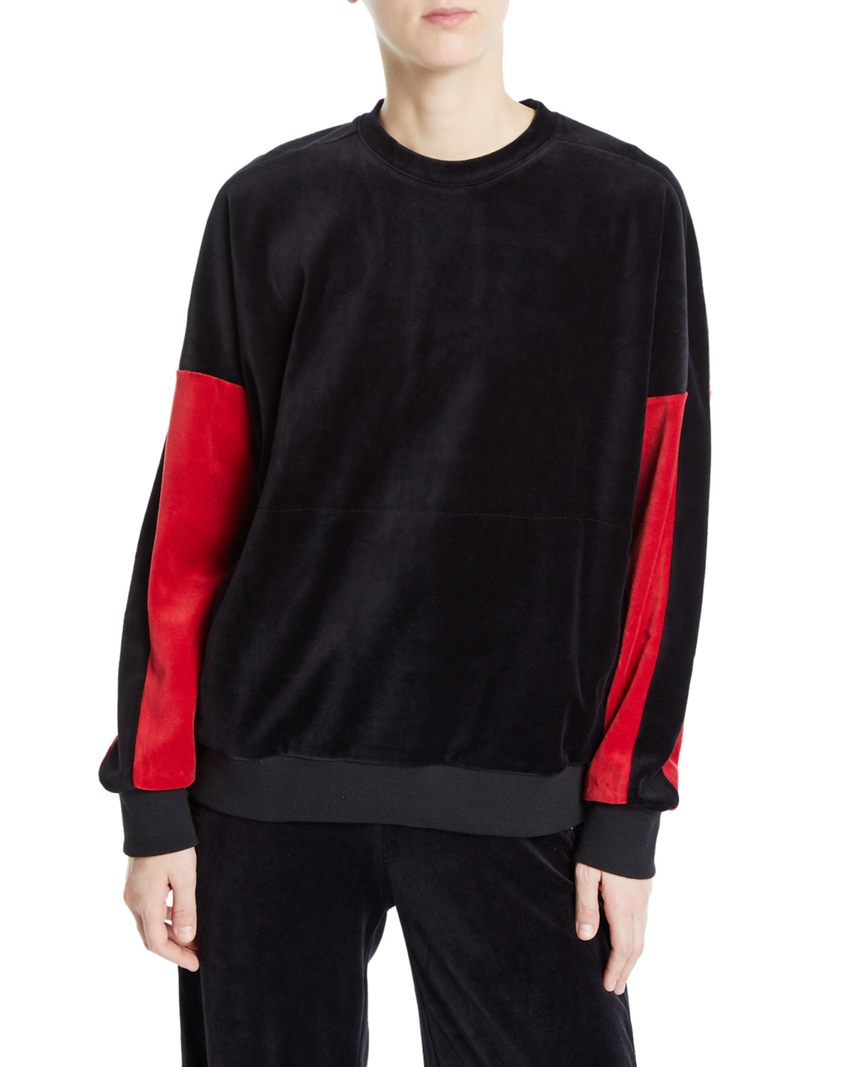 ALALA Velour Crewneck Pullover Sweater With Colorblock Sleeves in Black/Red