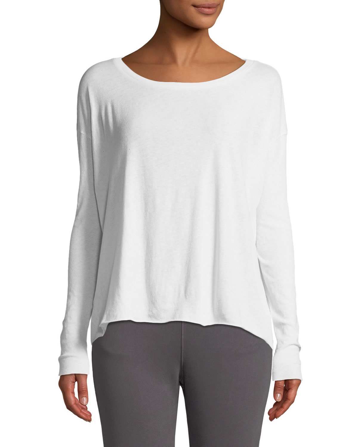 Core Cotton Long-Sleeve Tee in White