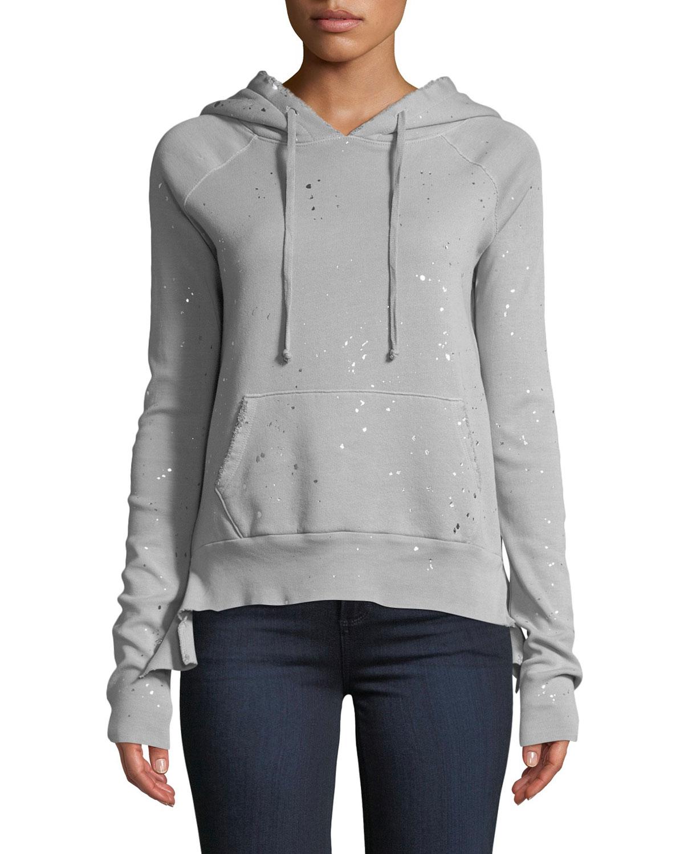 Cotton Fleece Pullover Hoodie Sweater in Gray Pattern
