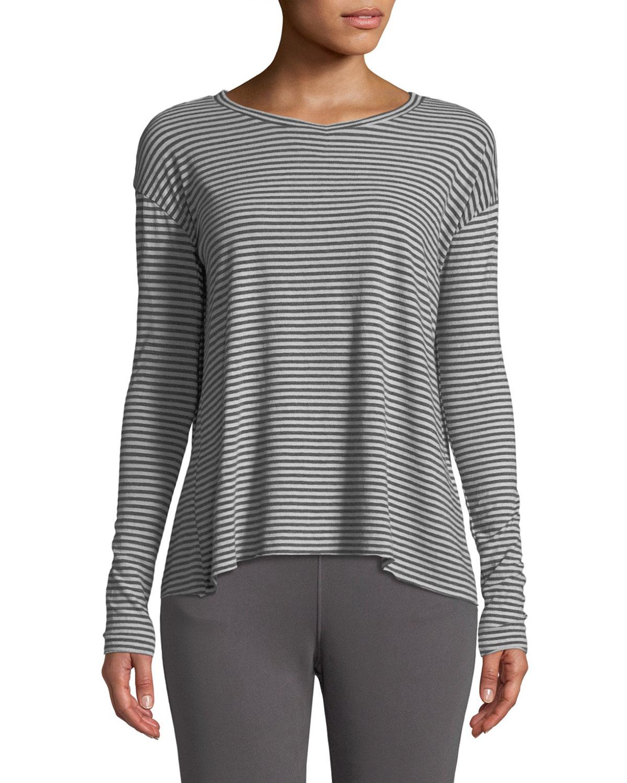 Core Striped Long-Sleeve Tee in Gray Pattern