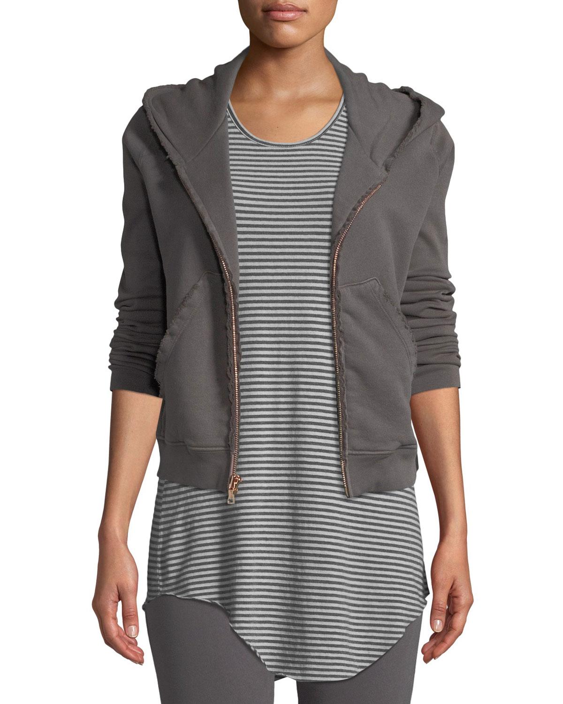 Distressed Fleece Zip Hoodie Sweatshirt Jacket in Gray