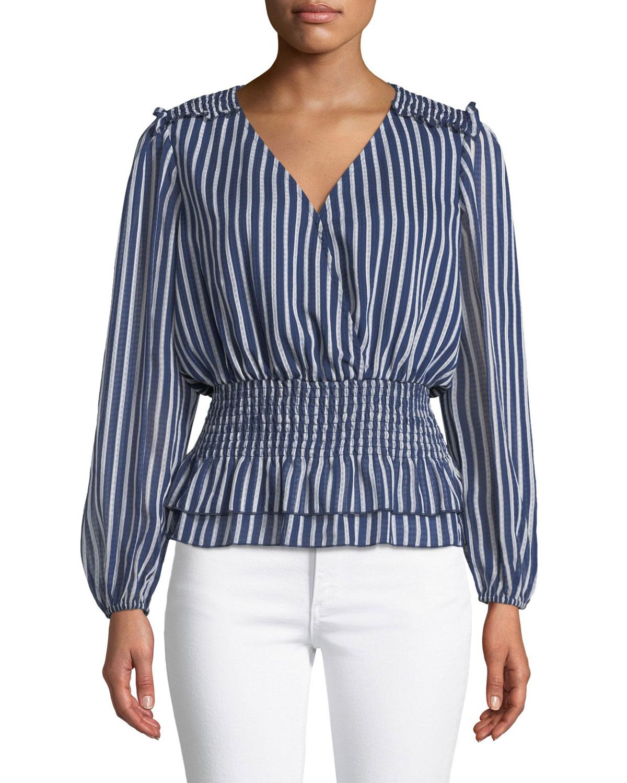 Rina Striped Smocked V-Neck Top