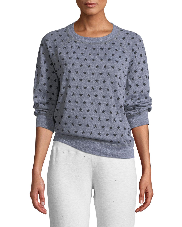 MONROW Heathered Star-Print Vintage Raglan Sweater in Dark Gray