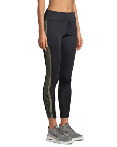 Tribeca Metallic Racer-Stripe Activewear Leggings