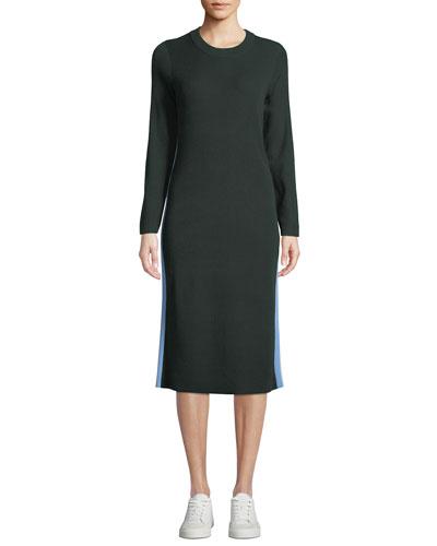 Performance Cashmere Double-Stripe Dress