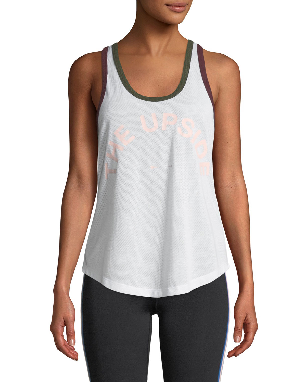 Saratoga Scoop-Neck Mesh Activewear Tank in White Pattern