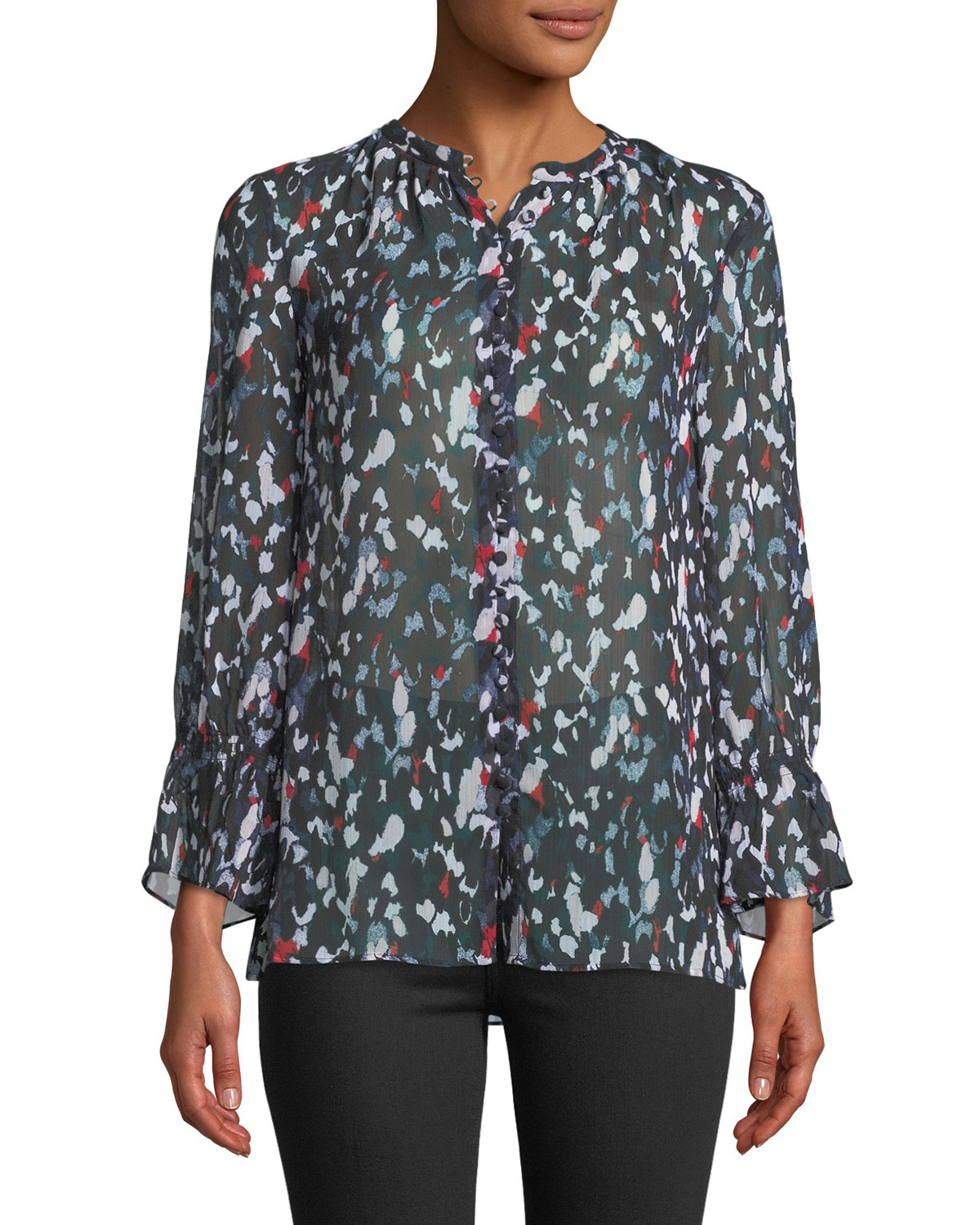 Lowryda Printed Button-Front Top