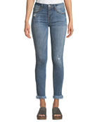 Etienne Marcel Distressed Grommet Ankle Skinny with Frayed