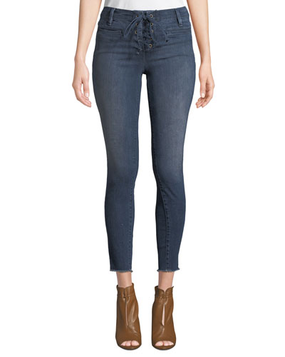 Lace-Up Skinny Jeans with Frayed Hem