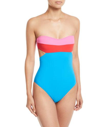 Christye Colorblock Bandeau One-Piece Swimsuit