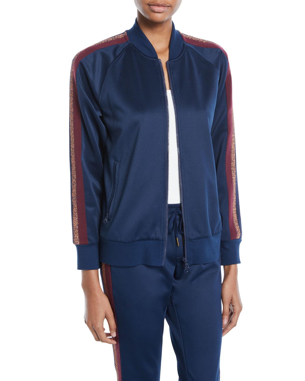 Zip-Front Track Jacket W/ Metallic Stripes, Navy