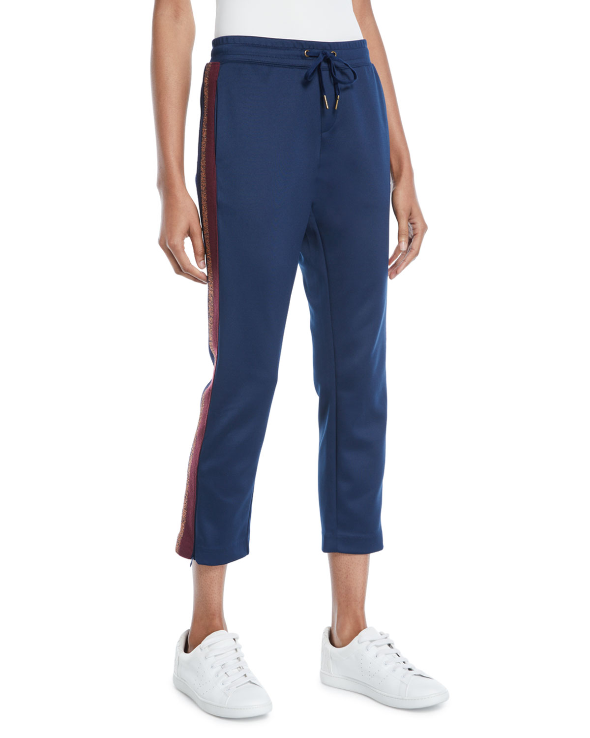 Cropped Drawstring Sweatpants W/ Metallic Stripes in Navy