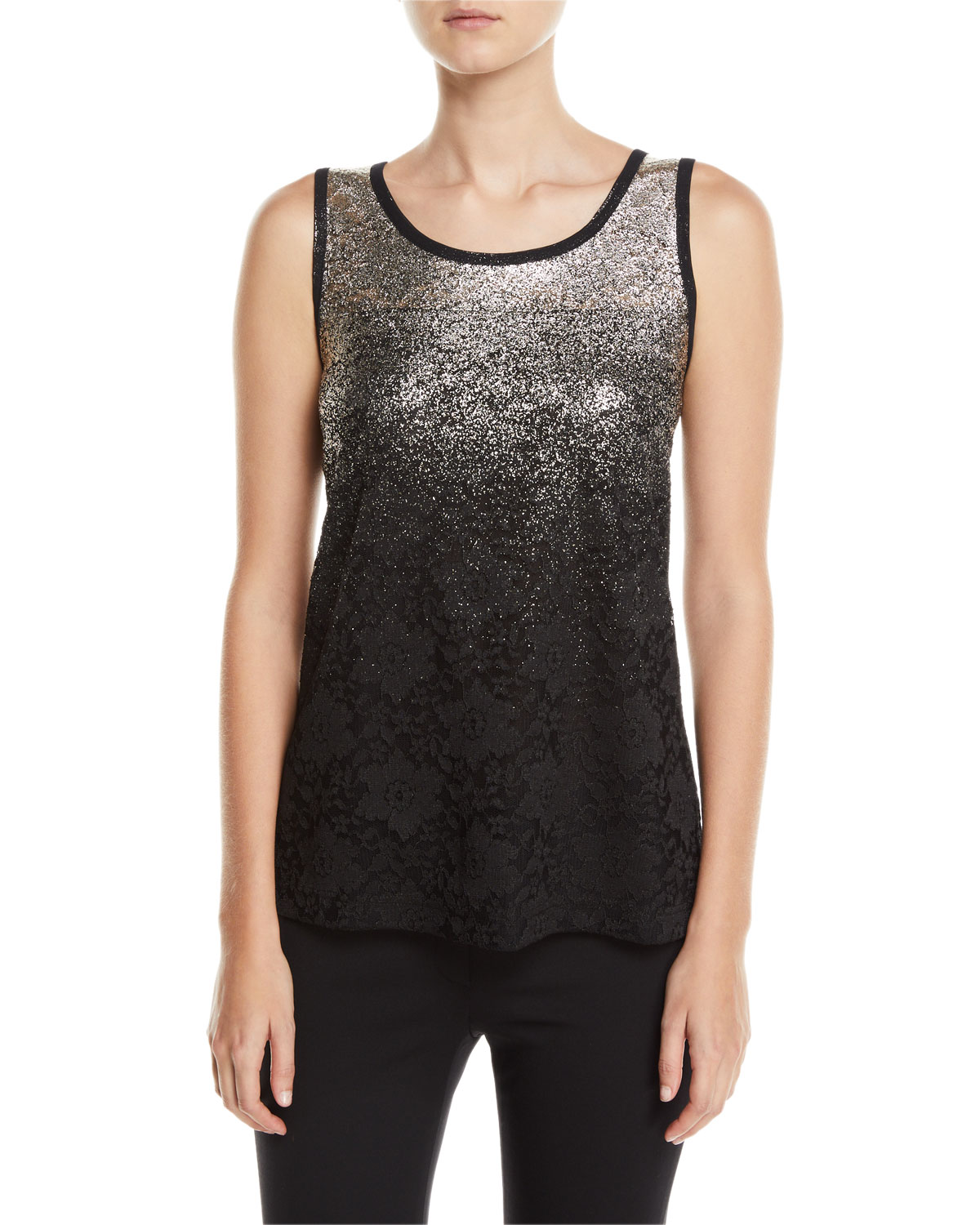 BEREK Speckle-Border Easy Tank Top With Lace, Petite in Multi