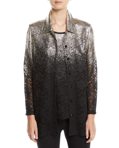 Petite Speckle-Border Easy Shirt Jacket with Lace