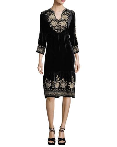Petite Magdalene 3/4-Sleeve Embroidered Velvet Dress