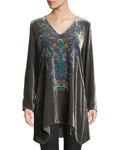 Petite Aurelia Velvet Embroidered Tunic