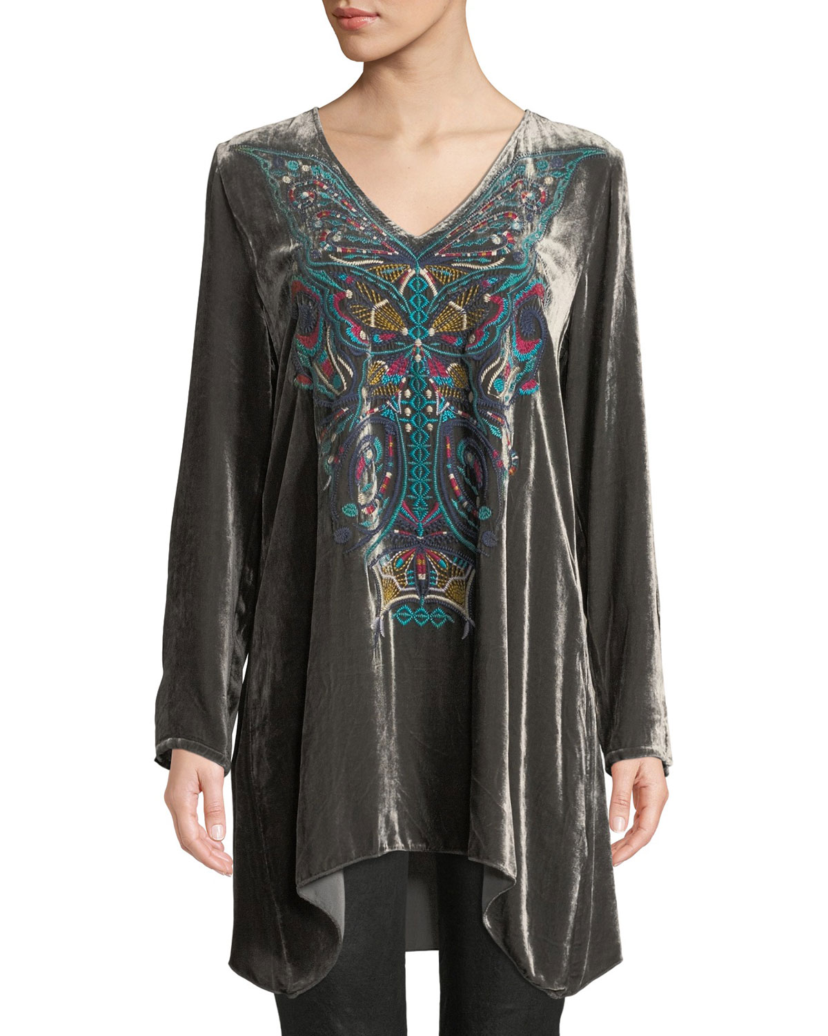 Aurelia Velvet Embroidered Tunic, Petite