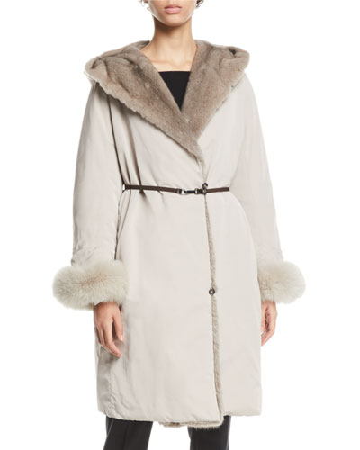 Here is the Cube Collection Urbaniv Reversible Down & Fur Coat