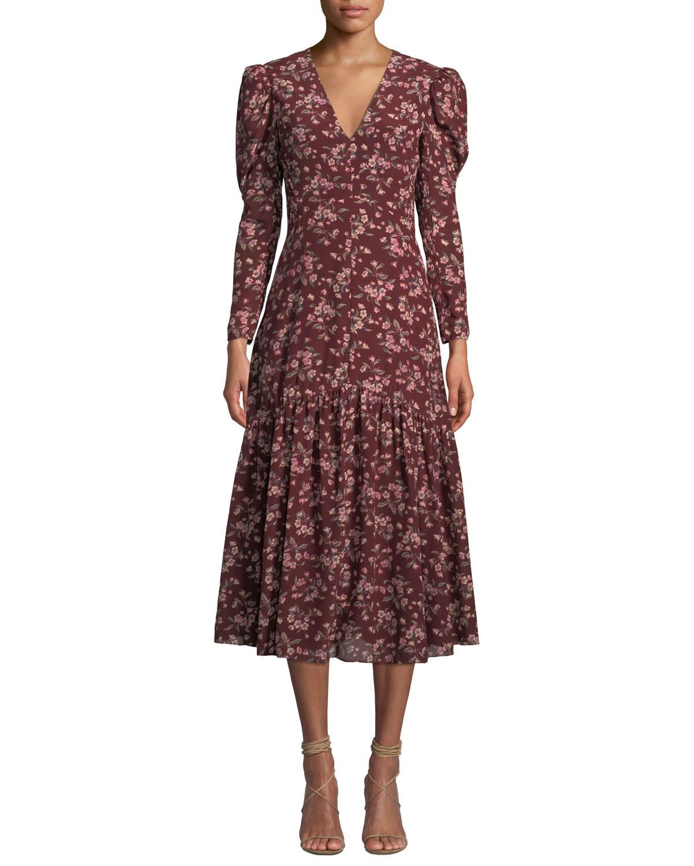 Tilda Puff-Sleeve Floral Midi Dress