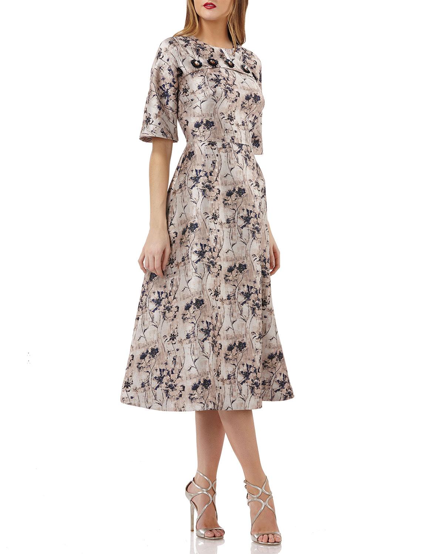 Jacquard Dolman-Sleeve Dress