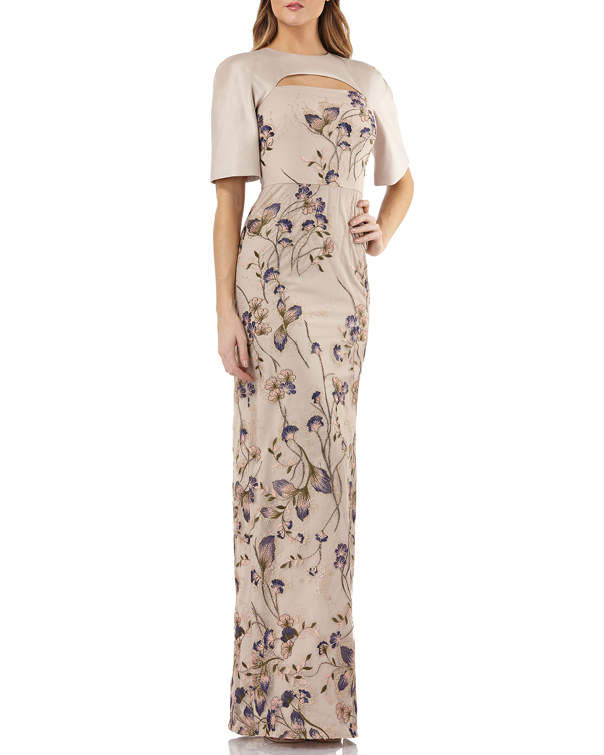 12057c05cb Sleeveless Dress w  Embroidered Sequin Panel. Kay Unger New York ...