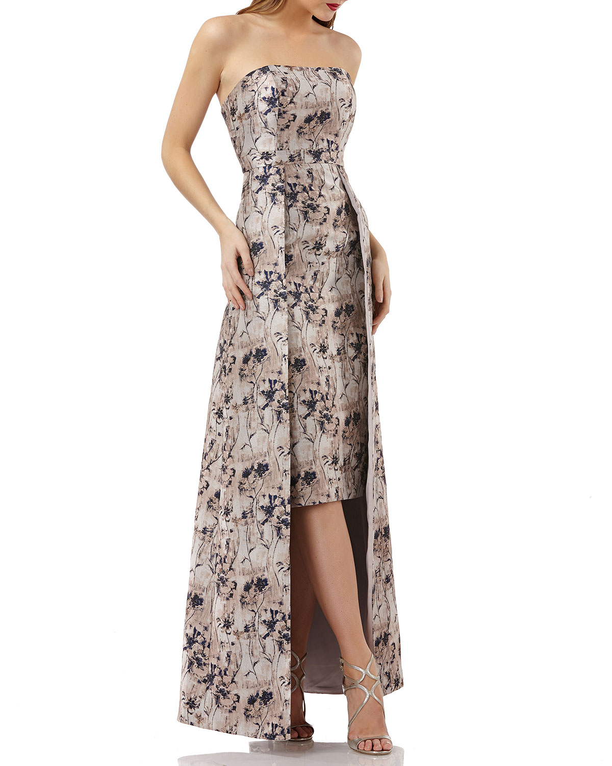 KAY UNGER METALLIC JACQUARD GOWN W/ FLORAL OVERLAY