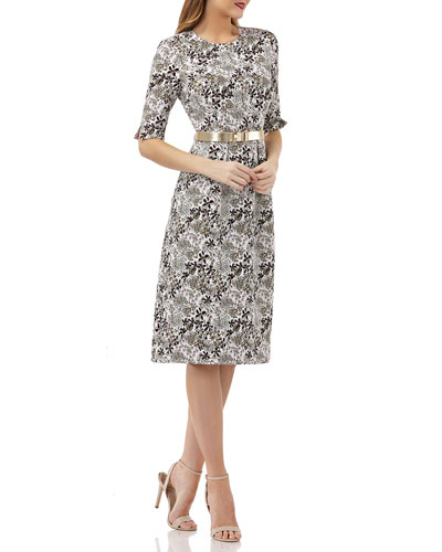 Stretch Jacquard Belted Dress w/ Pockets