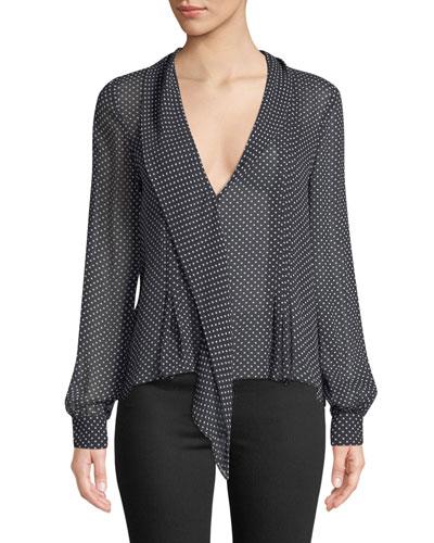 Dowa Long-Sleeve Polka-Dot Silk Top