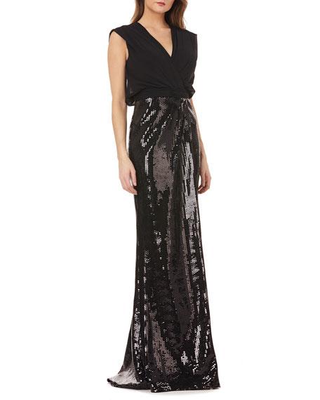 Kay Unger New York Sleeveless Column Gown w/ Sequin Skirt