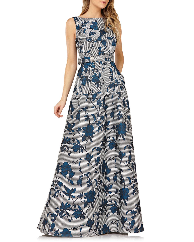 KAY UNGER Belted Floral Gown W/ Mitered Stripes & Pockets in Tealsilver
