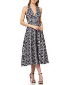 Kay Unger New York Halter Dress in Stretch