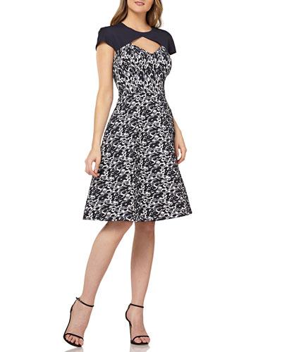 Metallic Stretch Jacquard Dress w/ Raglan Sleeves